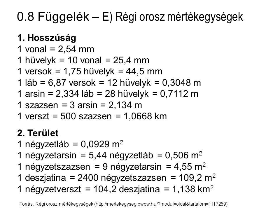 0.8 Függelék – E) Régi orosz mértékegységek 3- Űrmérték 1 kruzska = 10 csatki = 1,23 ℓ 1 vedró = 10 kruzska = 12,3 ℓ 1 bocska = 40 vedró = 492 ℓ 1 granec = 3,28 ℓ 1 csetverik = 8 granec = 26,24 ℓ 1 csetvert = 8 csetverik = 209,9 ℓ 4.
