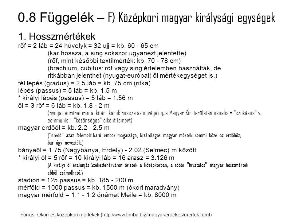 0.8 Függelék – G) Mai angolszász egységek Forrás: Angol mértékegységek (http://mertekegyseg.qwqw.hu/?modul=oldal&tartalom=1117259) 1.