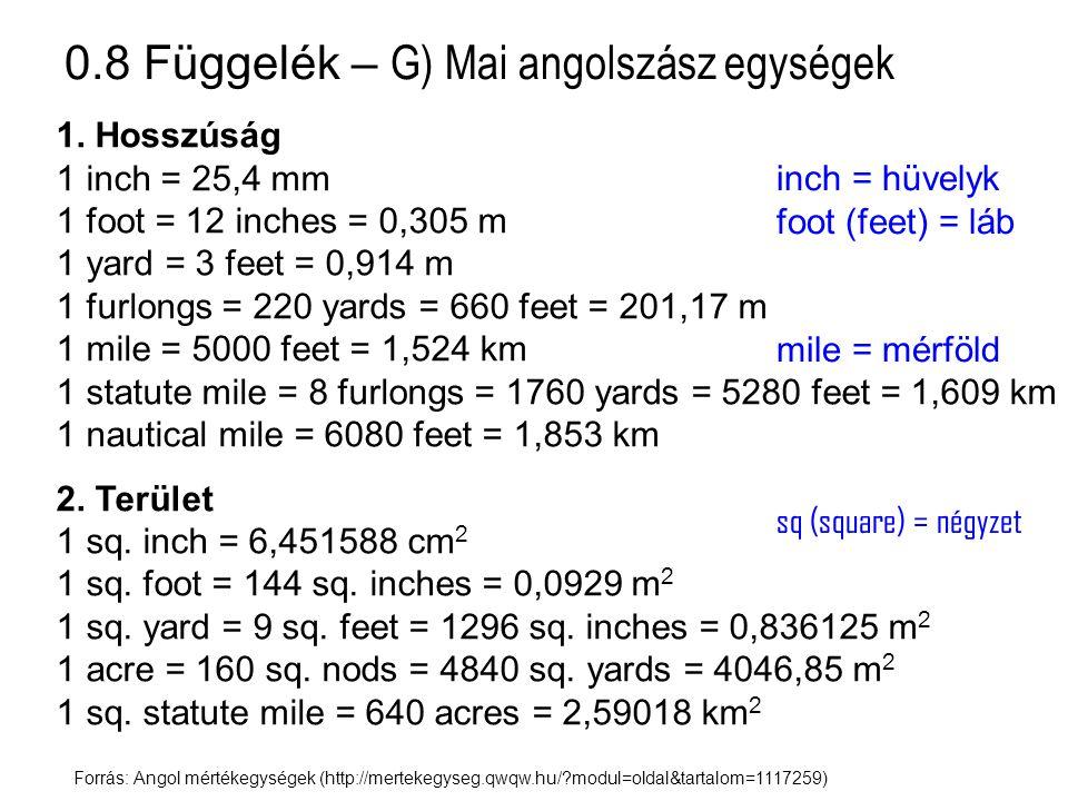 0.8 Függelék – G) Mai angolszász egységek Forrás: Angol mértékegységek (http://mertekegyseg.qwqw.hu/?modul=oldal&tartalom=1117259) 1. Hosszúság 1 inch