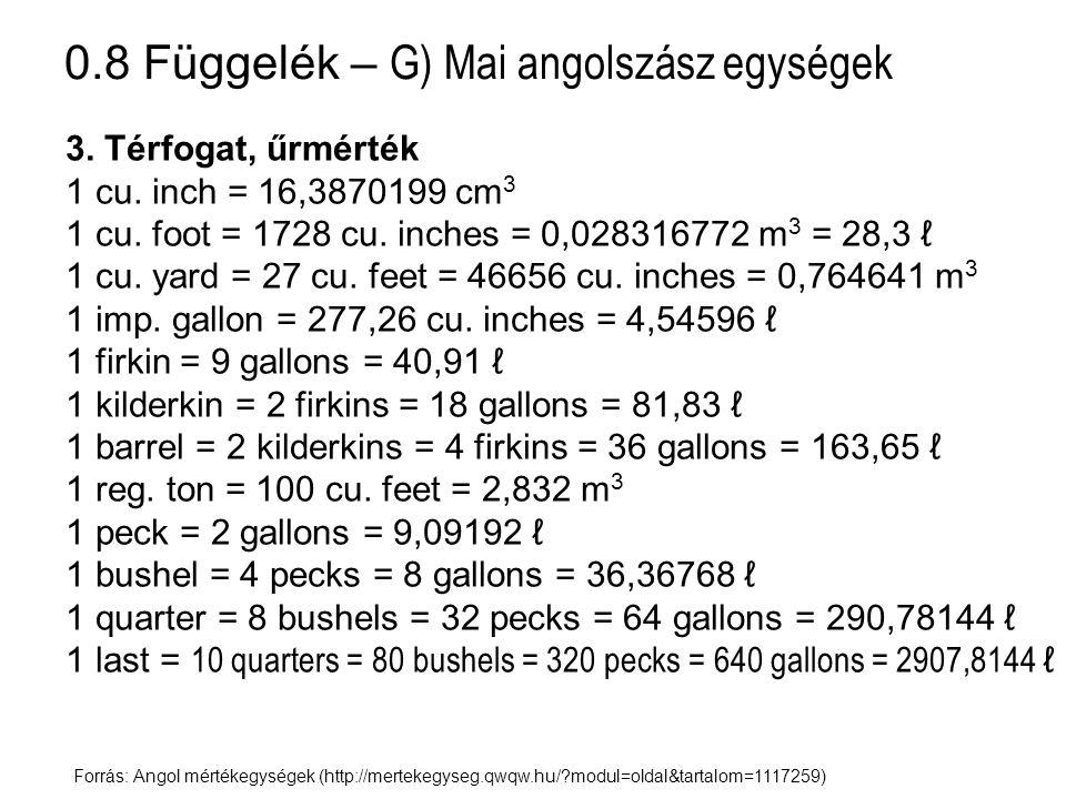 0.8 Függelék – G) Mai angolszász egységek Forrás: Angol mértékegységek (http://mertekegyseg.qwqw.hu/?modul=oldal&tartalom=1117259) 3. Térfogat, űrmért