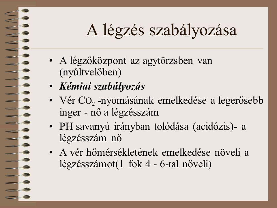 A légzés szabályozása A légzőközpont az agytörzsben van (nyúltvelőben) Kémiai szabályozás Vér C O 2 -nyomásának emelkedése a legerősebb inger - nő a l