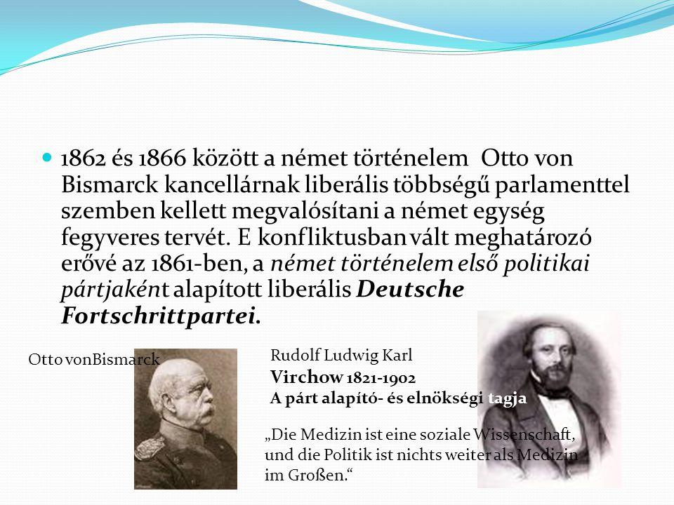 1862 és 1866 között a német történelem Otto von Bismarck kancellárnak liberális többségű parlamenttel szemben kellett megvalósítani a német egység feg
