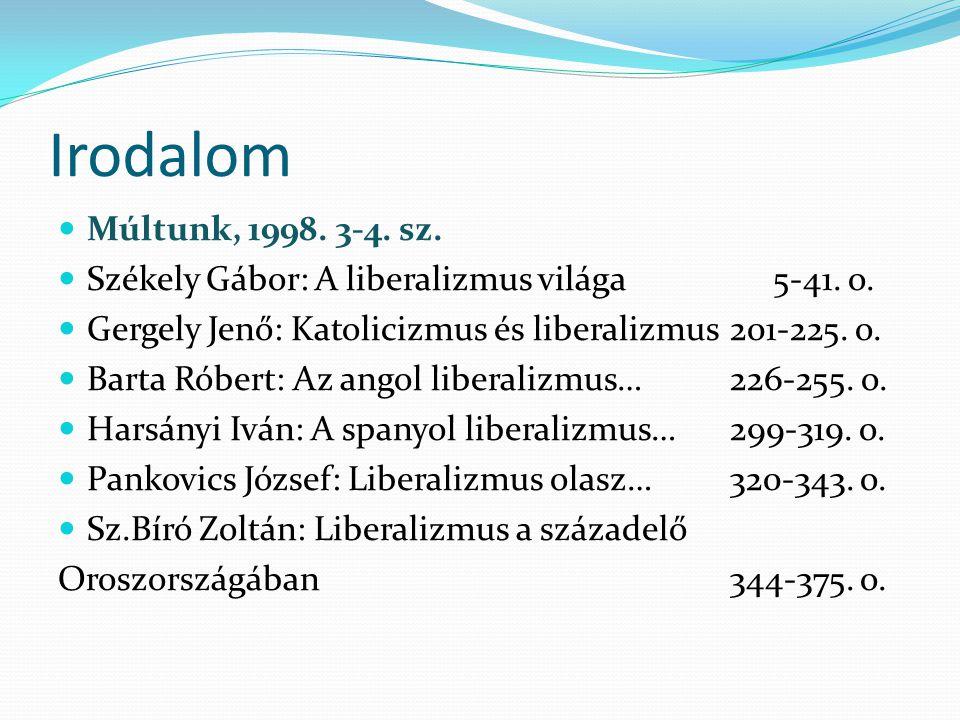 Irodalom Múltunk, 1998. 3-4. sz. Székely Gábor: A liberalizmus világa 5-41.