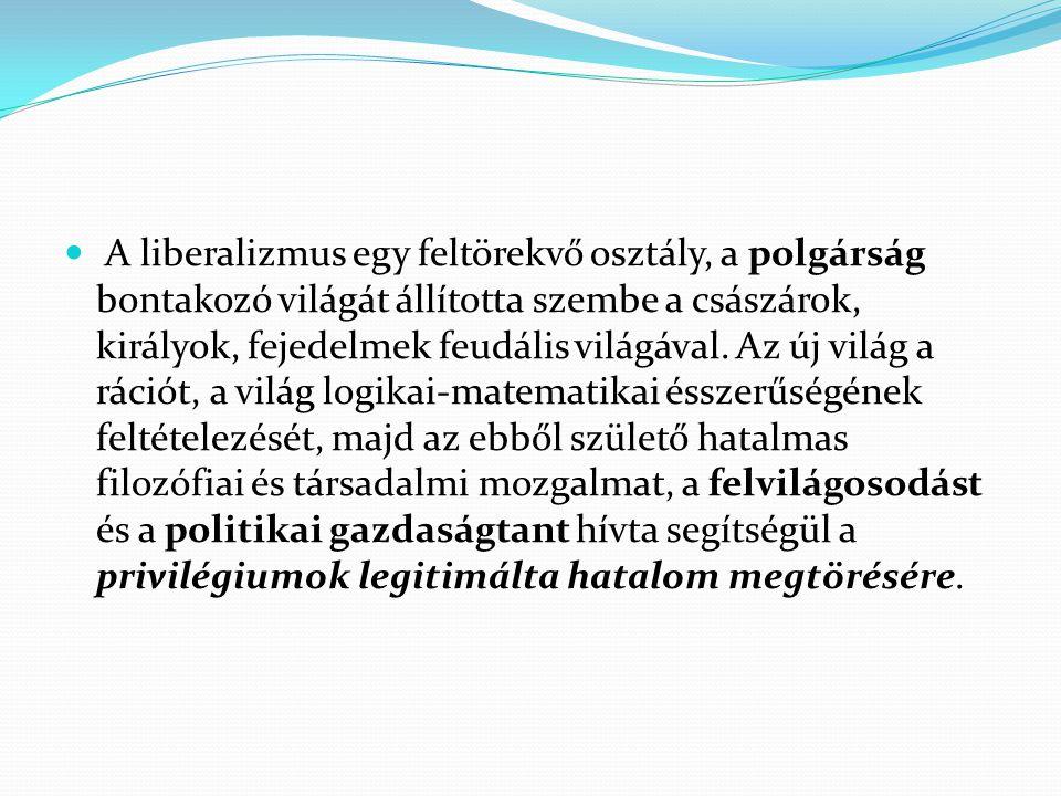 A liberalizmus egy feltörekvő osztály, a polgárság bontakozó világát állította szembe a császárok, királyok, fejedelmek feudális világával. Az új vilá
