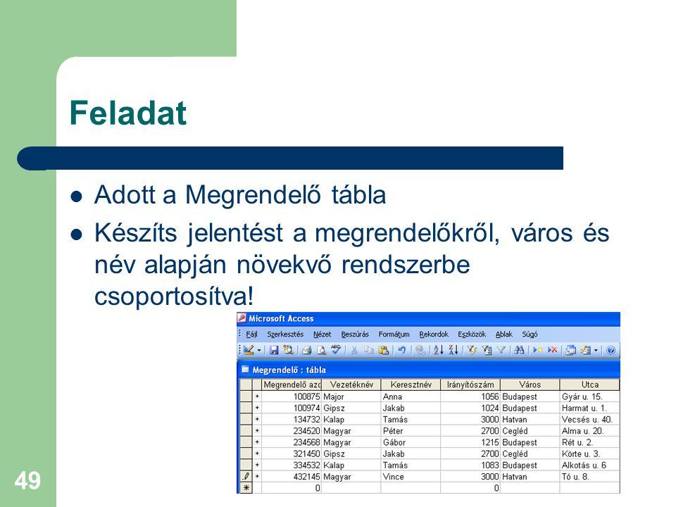 49 Feladat Adott a Megrendelő tábla Készíts jelentést a megrendelőkről, város és név alapján növekvő rendszerbe csoportosítva!