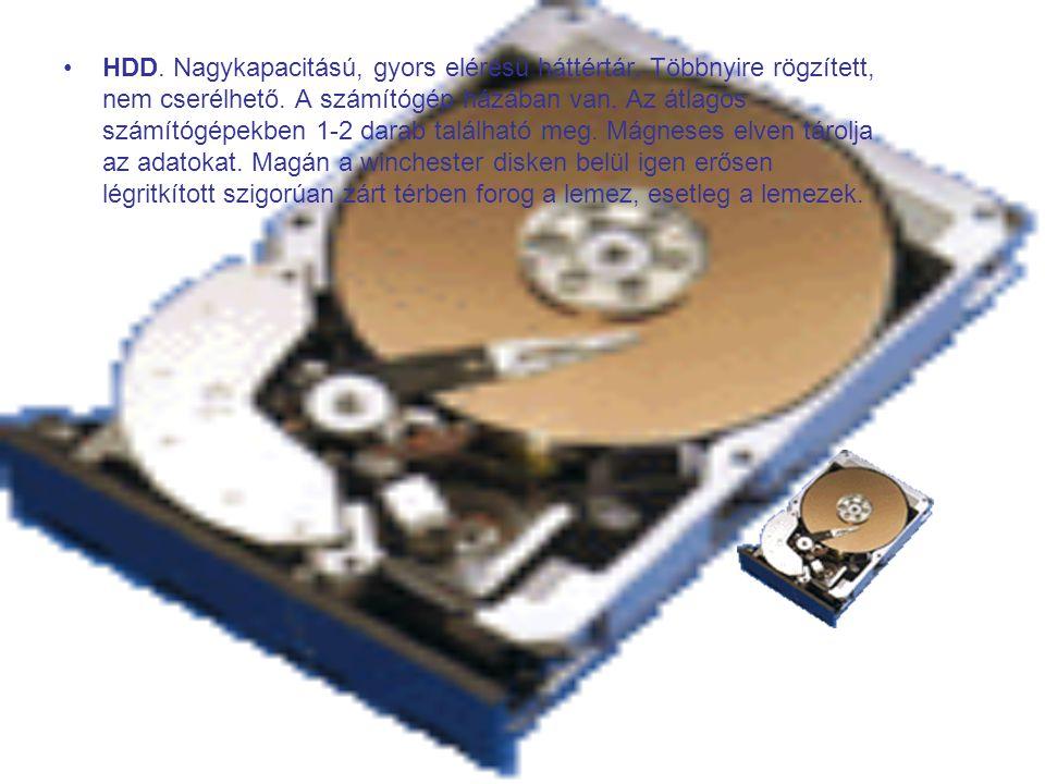HDD. Nagykapacitású, gyors elérésű háttértár. Többnyire rögzített, nem cserélhető.