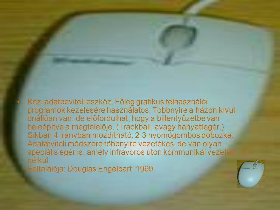 Kézi adatbeviteli eszköz. Főleg grafikus felhasználói programok kezelésére használatos.