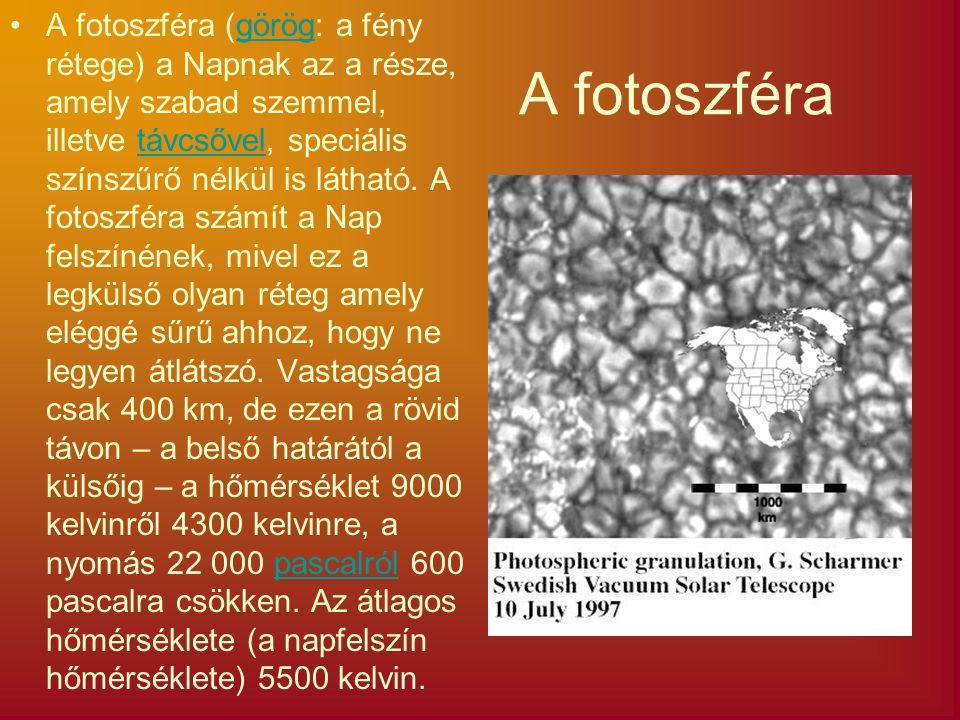 A fotoszféra A fotoszféra (görög: a fény rétege) a Napnak az a része, amely szabad szemmel, illetve távcsővel, speciális színszűrő nélkül is látható.