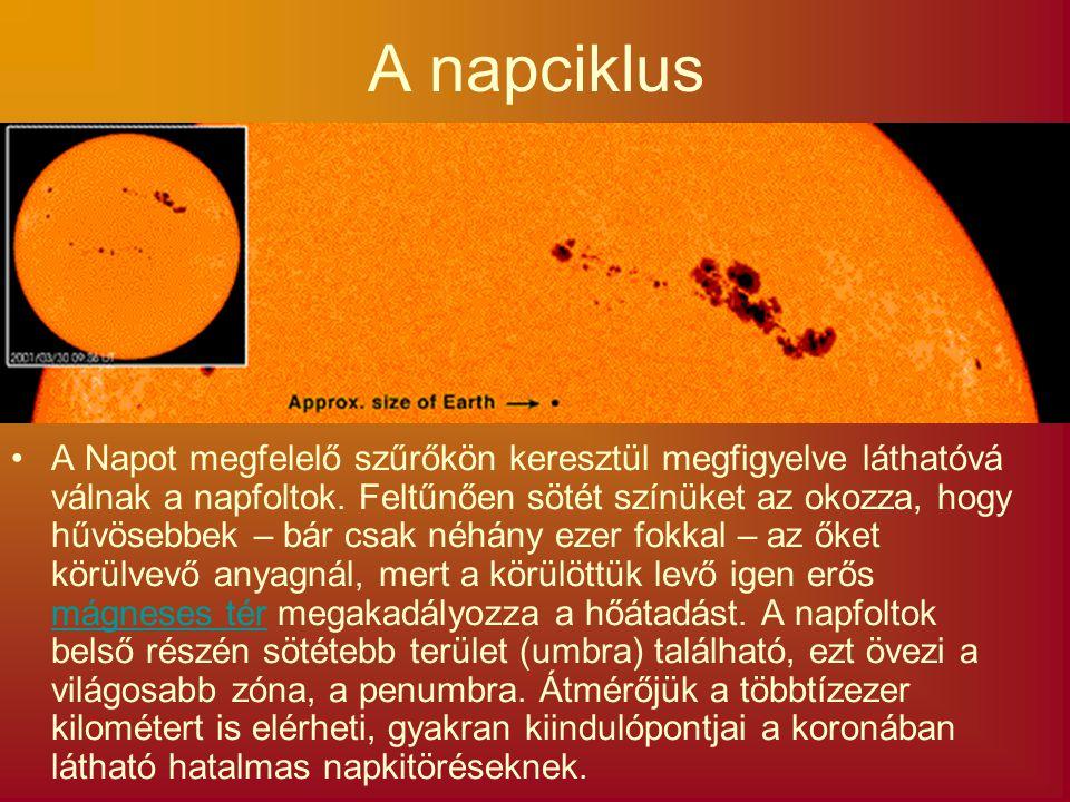 A napciklus A Napot megfelelő szűrőkön keresztül megfigyelve láthatóvá válnak a napfoltok. Feltűnően sötét színüket az okozza, hogy hűvösebbek – bár c