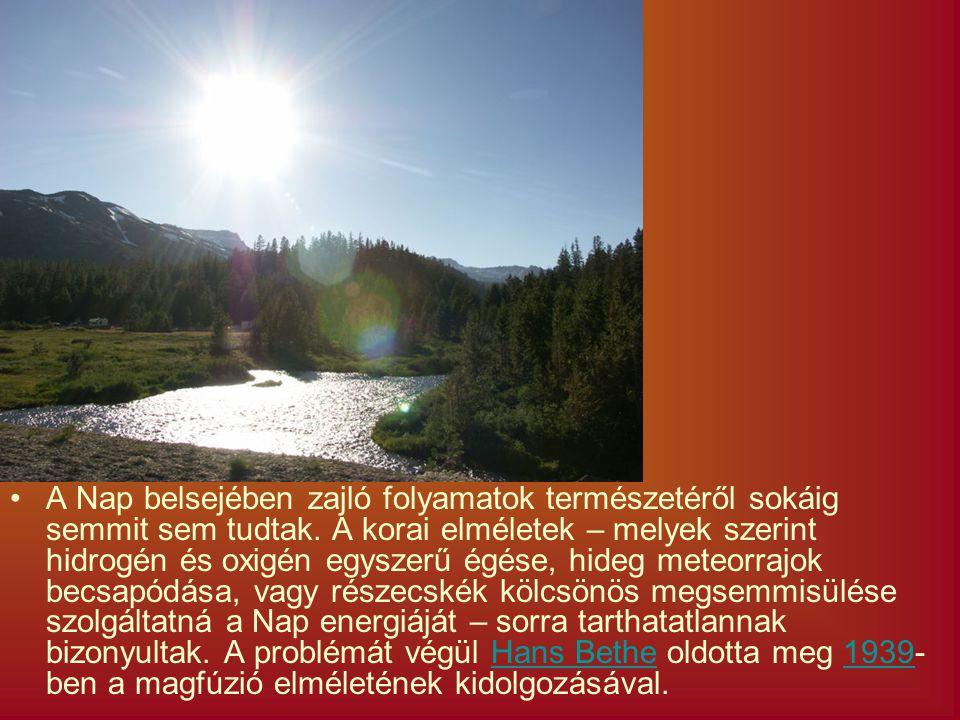 A Nap belsejében zajló folyamatok természetéről sokáig semmit sem tudtak. A korai elméletek – melyek szerint hidrogén és oxigén egyszerű égése, hideg
