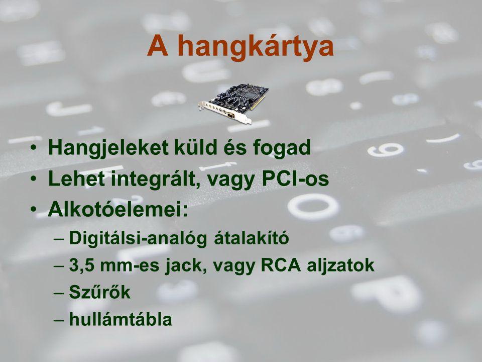 A hangkártya Hangjeleket küld és fogad Lehet integrált, vagy PCI-os Alkotóelemei: –Digitálsi-analóg átalakító –3,5 mm-es jack, vagy RCA aljzatok –Szűrők –hullámtábla