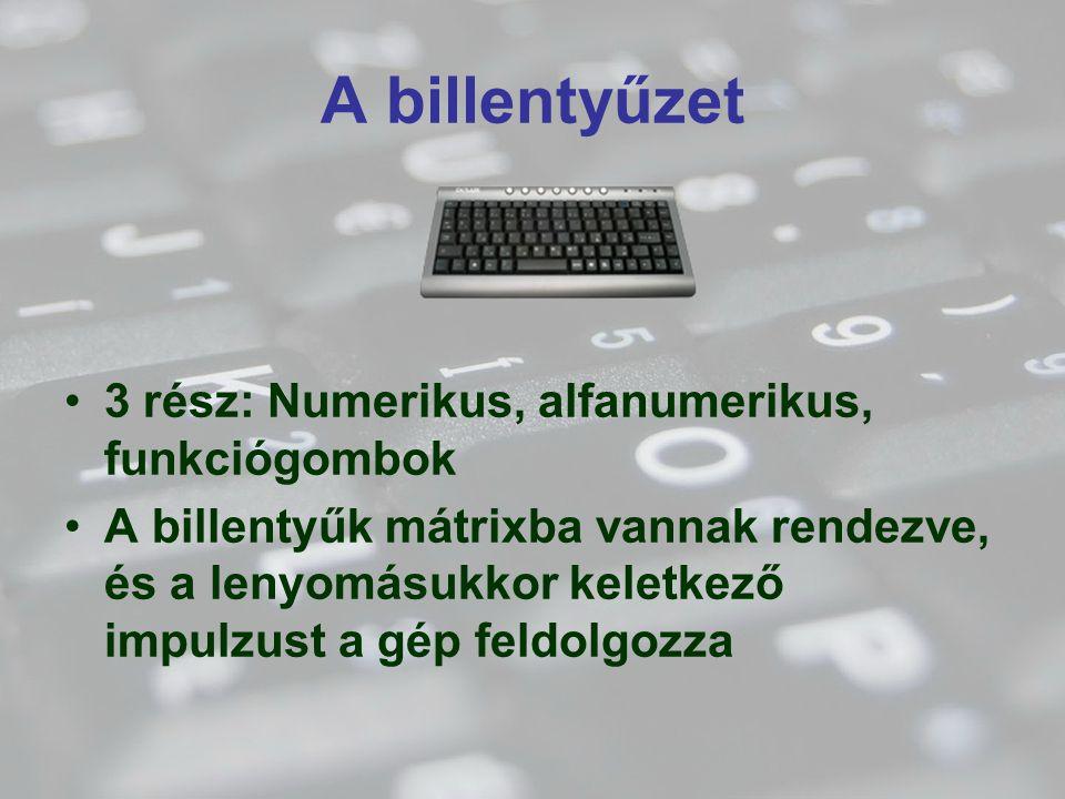 A billentyűzet 3 rész: Numerikus, alfanumerikus, funkciógombok A billentyűk mátrixba vannak rendezve, és a lenyomásukkor keletkező impulzust a gép fel