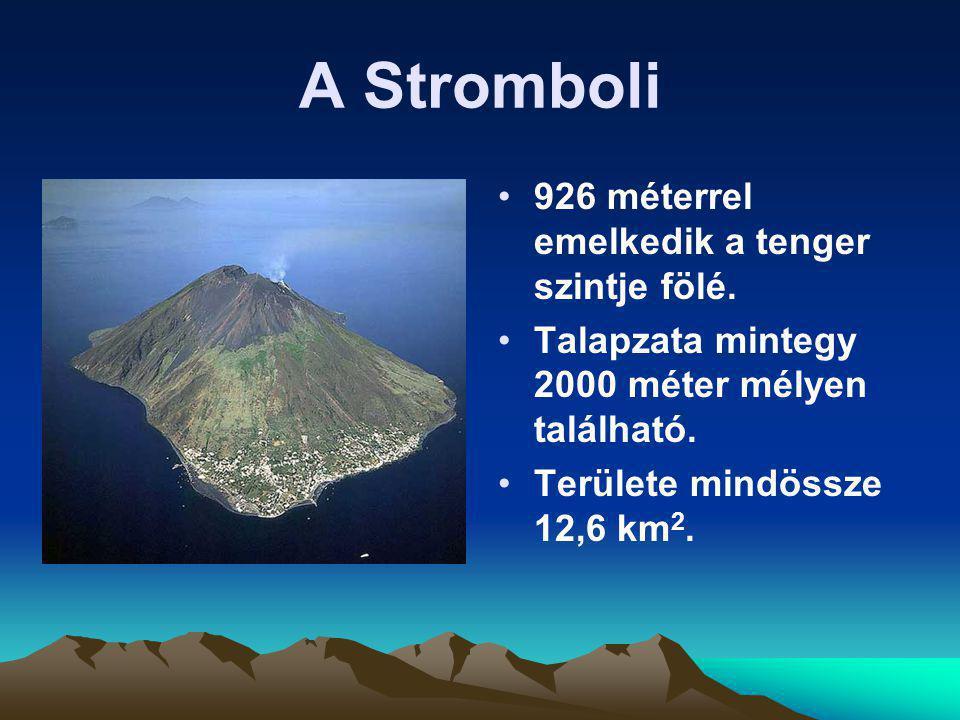 A Stromboli 926 méterrel emelkedik a tenger szintje fölé. Talapzata mintegy 2000 méter mélyen található. Területe mindössze 12,6 km 2.