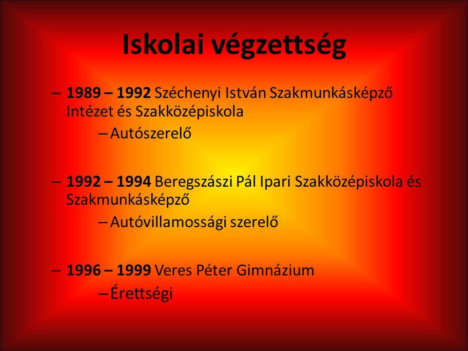 Iskolai végzettség – 1989 – 1992 Széchenyi István Szakmunkásképző Intézet és Szakközépiskola – Autószerelő – 1992 – 1994 Beregszászi Pál Ipari Szakköz