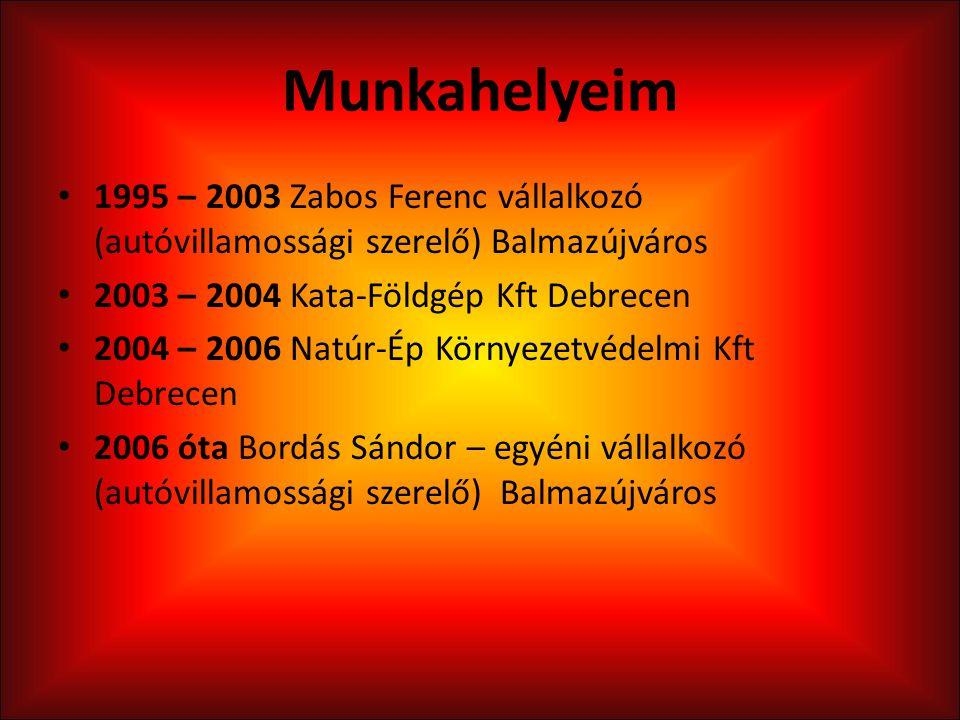 Munkahelyeim 1995 – 2003 Zabos Ferenc vállalkozó (autóvillamossági szerelő) Balmazújváros 2003 – 2004 Kata-Földgép Kft Debrecen 2004 – 2006 Natúr-Ép K