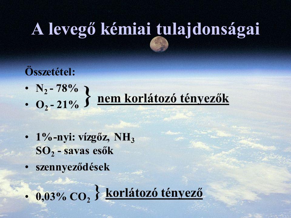 A levegő kémiai tulajdonságai Összetétel: N 2 - 78% O 2 - 21% 1%-nyi: vízgőz, NH 3 SO 2 - savas esők szennyeződések 0,03% CO 2 } nem korlátozó tényezők } korlátozó tényező