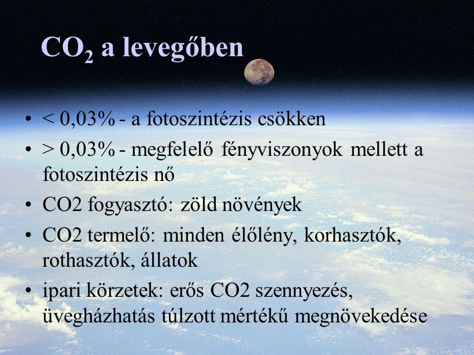 CO 2 a levegőben < 0,03% - a fotoszintézis csökken > 0,03% - megfelelő fényviszonyok mellett a fotoszintézis nő CO2 fogyasztó: zöld növények CO2 termelő: minden élőlény, korhasztók, rothasztók, állatok ipari körzetek: erős CO2 szennyezés, üvegházhatás túlzott mértékű megnövekedése