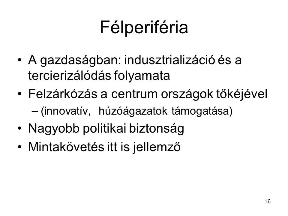 16 Félperiféria A gazdaságban: indusztrializáció és a tercierizálódás folyamata Felzárkózás a centrum országok tőkéjével –(innovatív, húzóágazatok tám