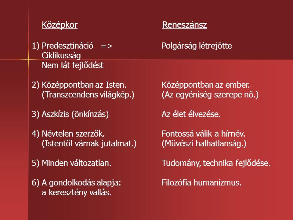 Középkor Reneszánsz 1) Predesztináció => Polgárság létrejötte Ciklikusság Nem lát fejlődést 2) Középpontban az Isten.