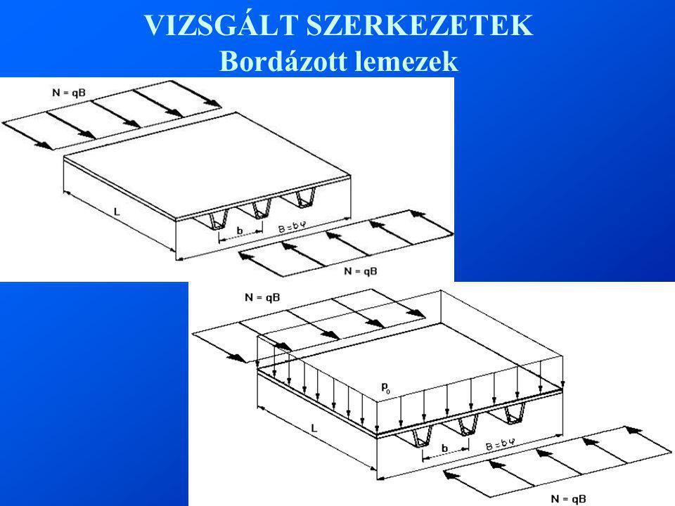VIZSGÁLT SZERKEZETEK Bordázott lemezek