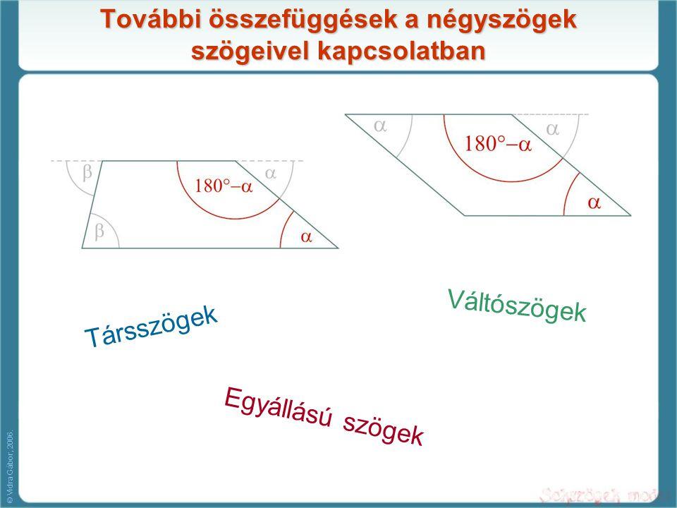 További összefüggések a négyszögek szögeivel kapcsolatban Társszögek Váltószögek Egyállású szögek © Vidra Gábor, 2006.