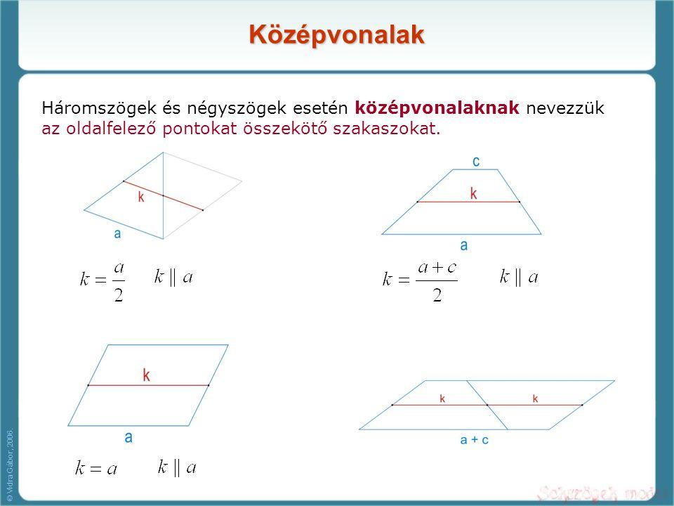 Középvonalak Háromszögek és négyszögek esetén középvonalaknak nevezzük az oldalfelező pontokat összekötő szakaszokat. © Vidra Gábor, 2006.