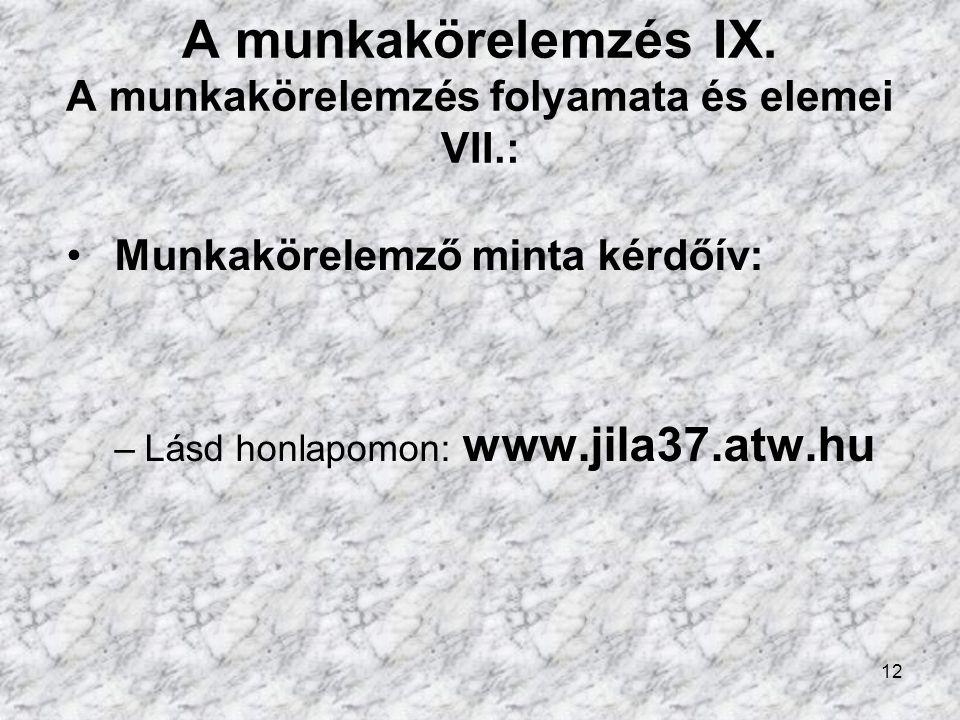 12 A munkakörelemzés IX.