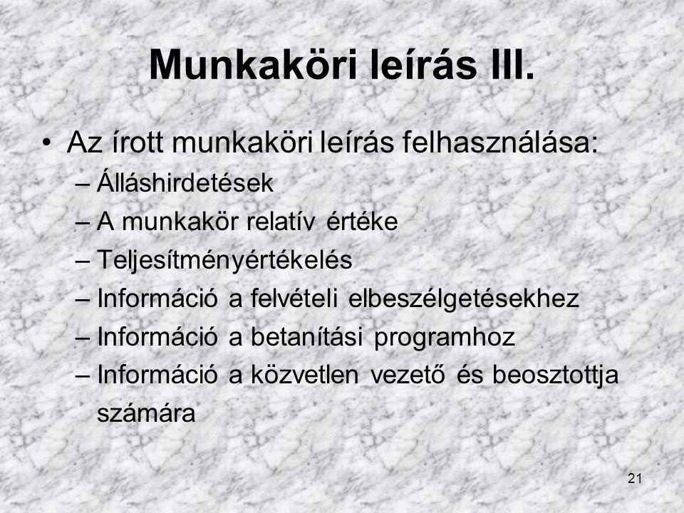 21 Munkaköri leírás III.