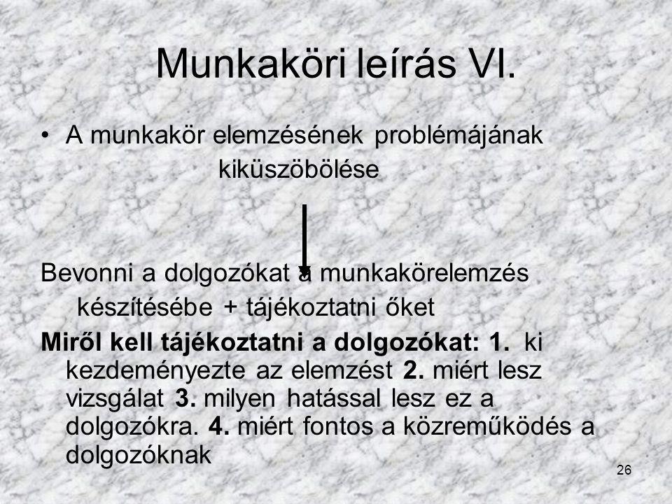 26 Munkaköri leírás VI.