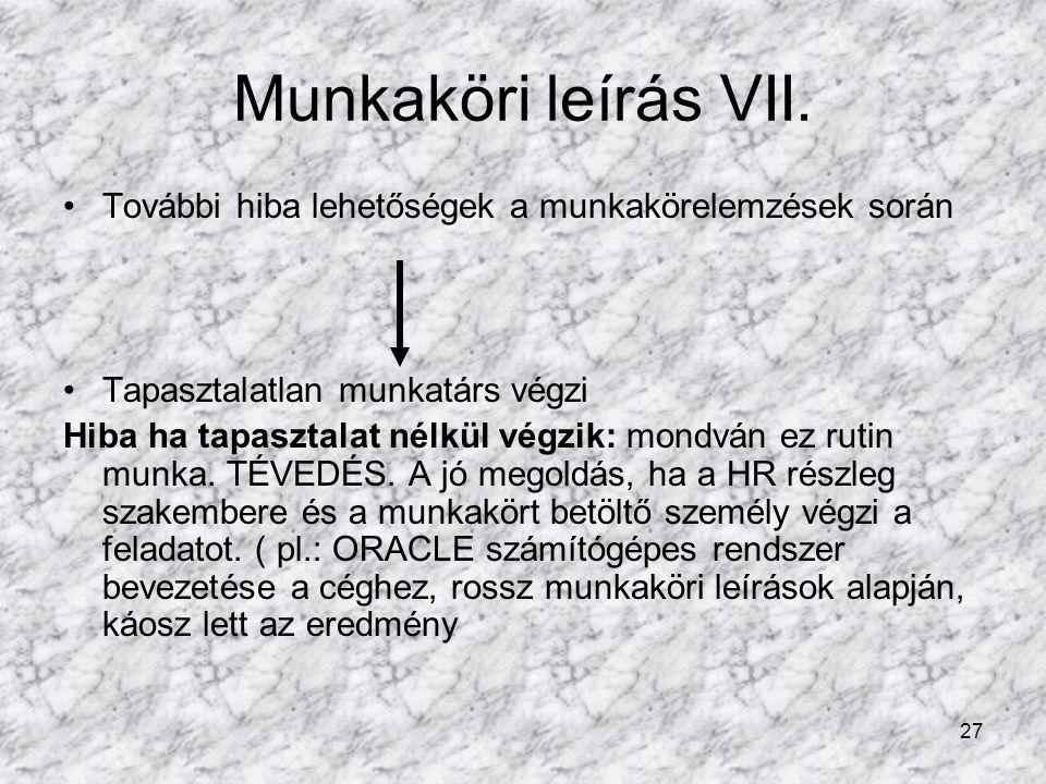27 Munkaköri leírás VII.