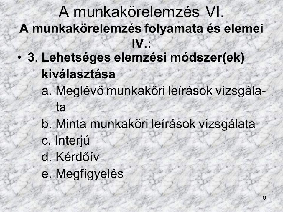 9 A munkakörelemzés VI.A munkakörelemzés folyamata és elemei IV.: 3.