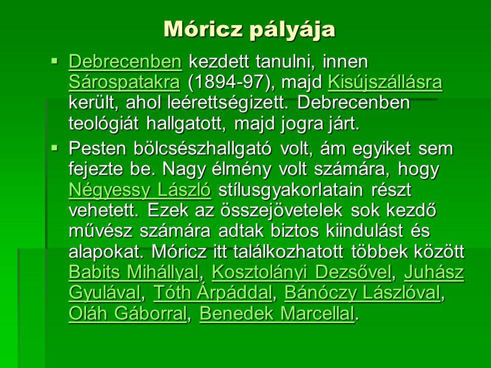 Móricz pályája  Debrecenben kezdett tanulni, innen Sárospatakra (1894-97), majd Kisújszállásra került, ahol leérettségizett. Debrecenben teológiát ha
