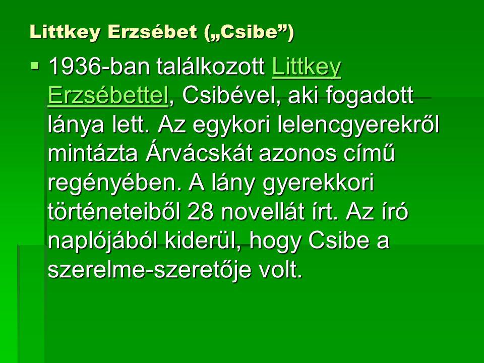 """Littkey Erzsébet (""""Csibe"""")  1936-ban találkozott Littkey Erzsébettel, Csibével, aki fogadott lánya lett. Az egykori lelencgyerekről mintázta Árvácská"""