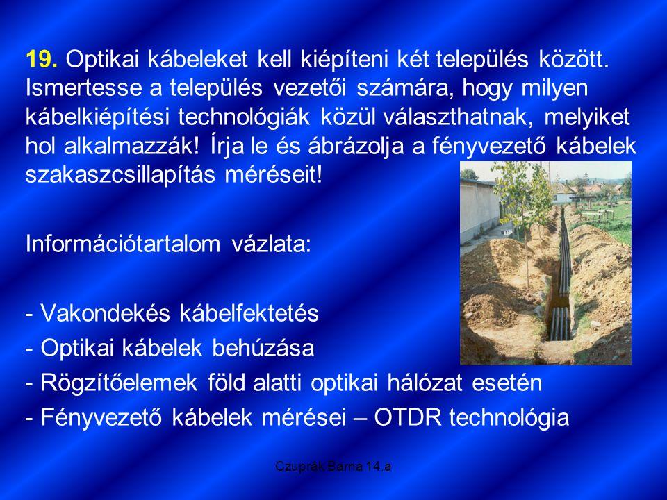 Czuprák Barna 14.a 19. Optikai kábeleket kell kiépíteni két település között. Ismertesse a település vezetői számára, hogy milyen kábelkiépítési techn