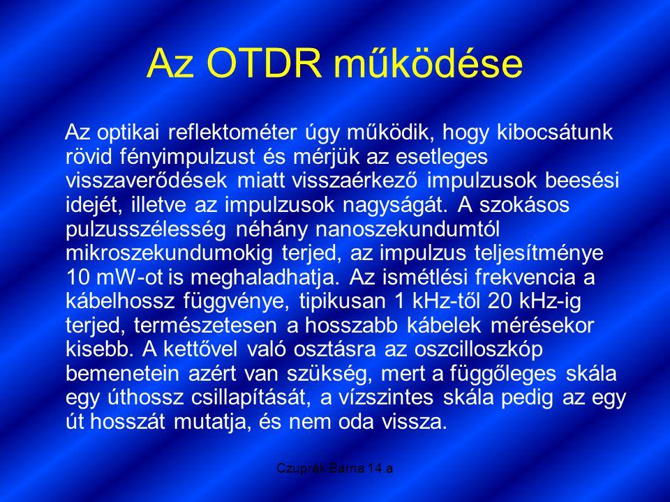 Czuprák Barna 14.a Az OTDR működése Az optikai reflektométer úgy működik, hogy kibocsátunk rövid fényimpulzust és mérjük az esetleges visszaverődések