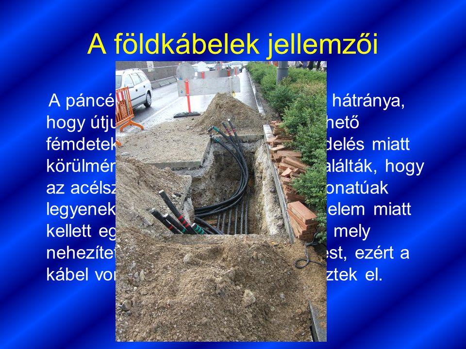 Czuprák Barna 14.a A földkábelek jellemzői A páncélos földkábelek egyik nagy hátránya, hogy útjuk ugyan könnyedén követhető fémdetektorral, de szerelé