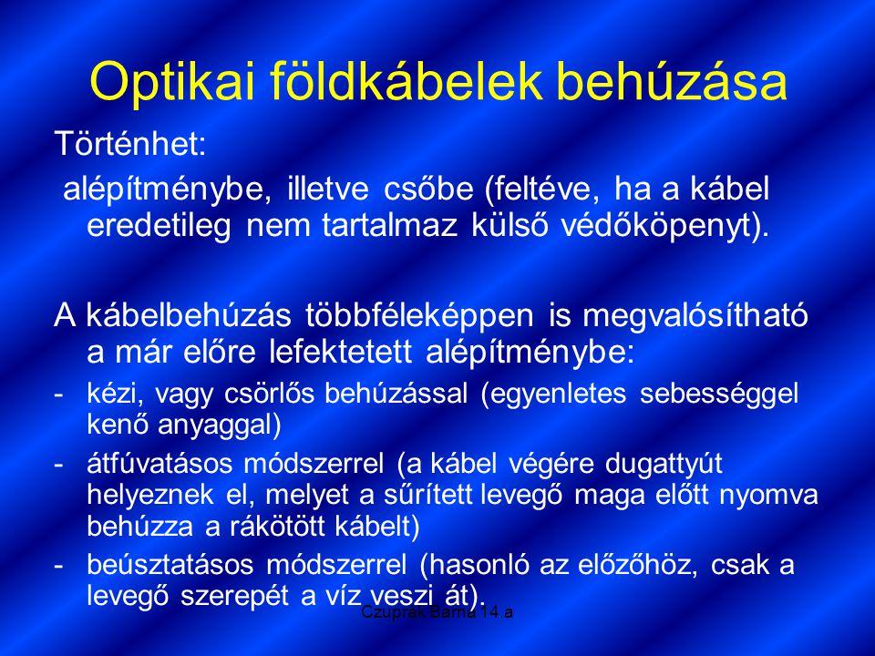Czuprák Barna 14.a Optikai földkábelek behúzása Történhet: alépítménybe, illetve csőbe (feltéve, ha a kábel eredetileg nem tartalmaz külső védőköpenyt