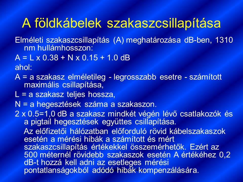 Czuprák Barna 14.a A földkábelek szakaszcsillapítása Elméleti szakaszcsillapítás (A) meghatározása dB-ben, 1310 nm hullámhosszon: A = L x 0.38 + N x 0