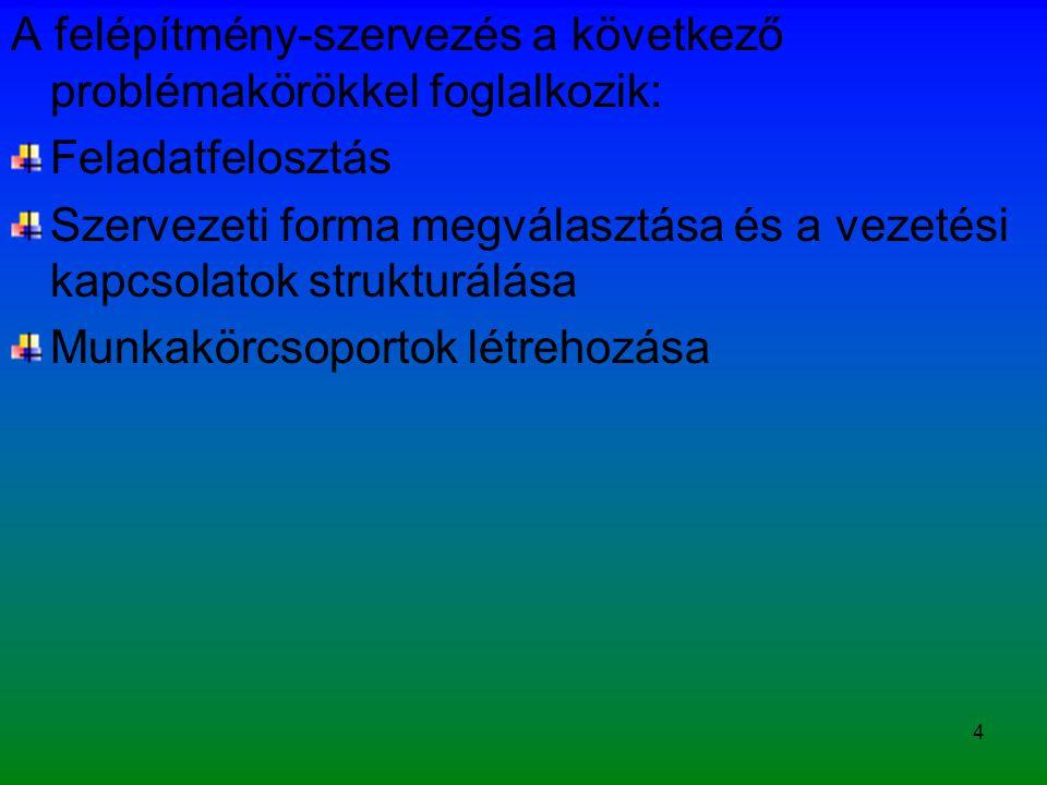 5 A turisztikai vállalkozások szervezeti koncepciója A szervezeti kialakítás meghatározói: A szervezet stratégiai céljainak hatékony elérés Rugalmas szervezet formáló tevékenység Terjeszkedő Diverzifikálódó Zsugorodó Profilt ill.