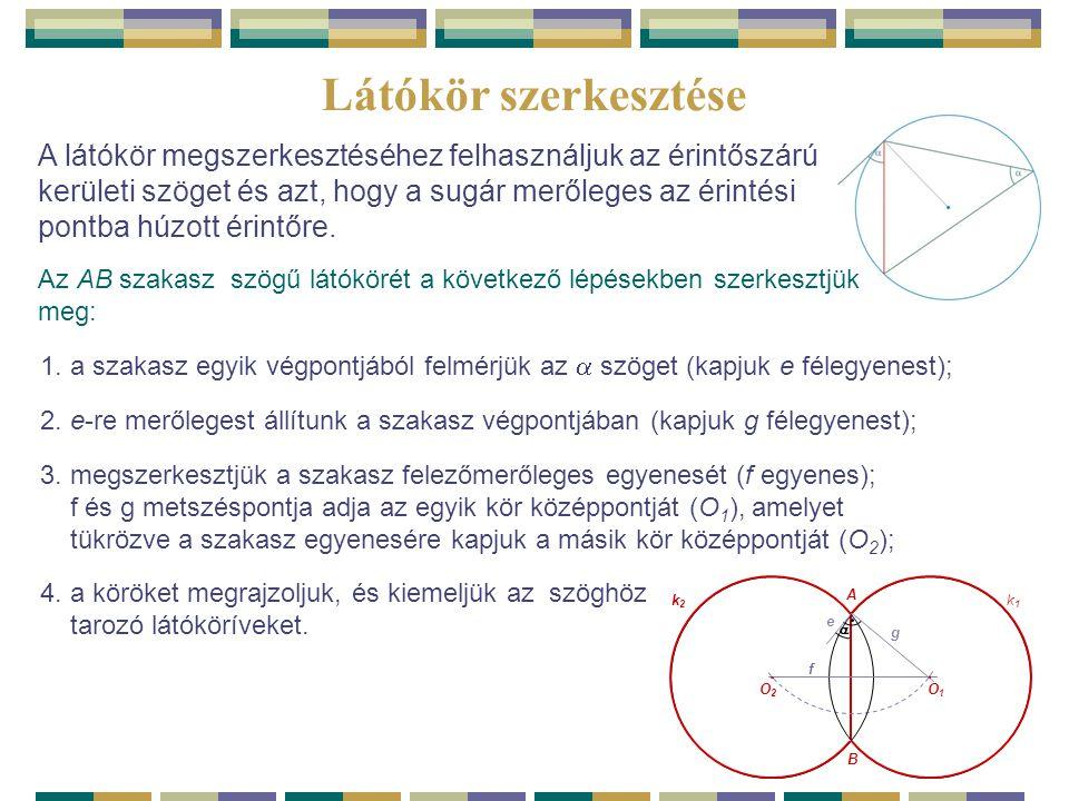  Látókör szerkesztése A látókör megszerkesztéséhez felhasználjuk az érintőszárú kerületi szöget és azt, hogy a sugár merőleges az érintési pontba húz