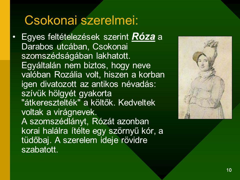 10 Csokonai szerelmei: Egyes feltételezések szerint Róza a Darabos utcában, Csokonai szomszédságában lakhatott. Egyáltalán nem biztos, hogy neve valób