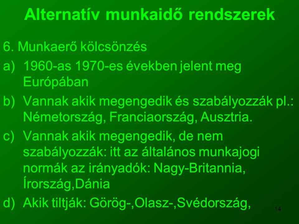 14 Alternatív munkaidő rendszerek 6. Munkaerő kölcsönzés a)1960-as 1970-es években jelent meg Európában b)Vannak akik megengedik és szabályozzák pl.:
