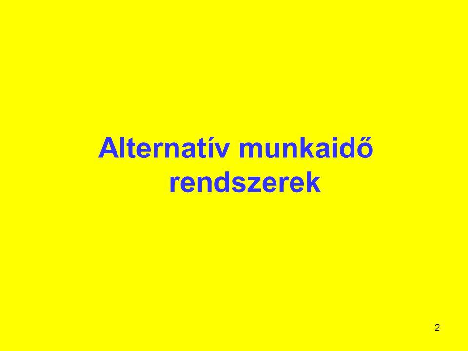 3 Alternatív munkaidő rendszerek I.A munkakörülmények alakításának eszköze lehet.