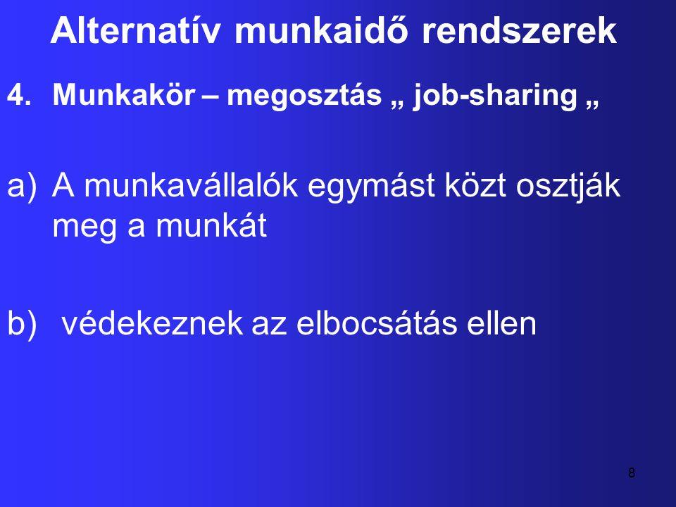 """8 Alternatív munkaidő rendszerek 4.Munkakör – megosztás """" job-sharing """" a)A munkavállalók egymást közt osztják meg a munkát b) védekeznek az elbocsátá"""