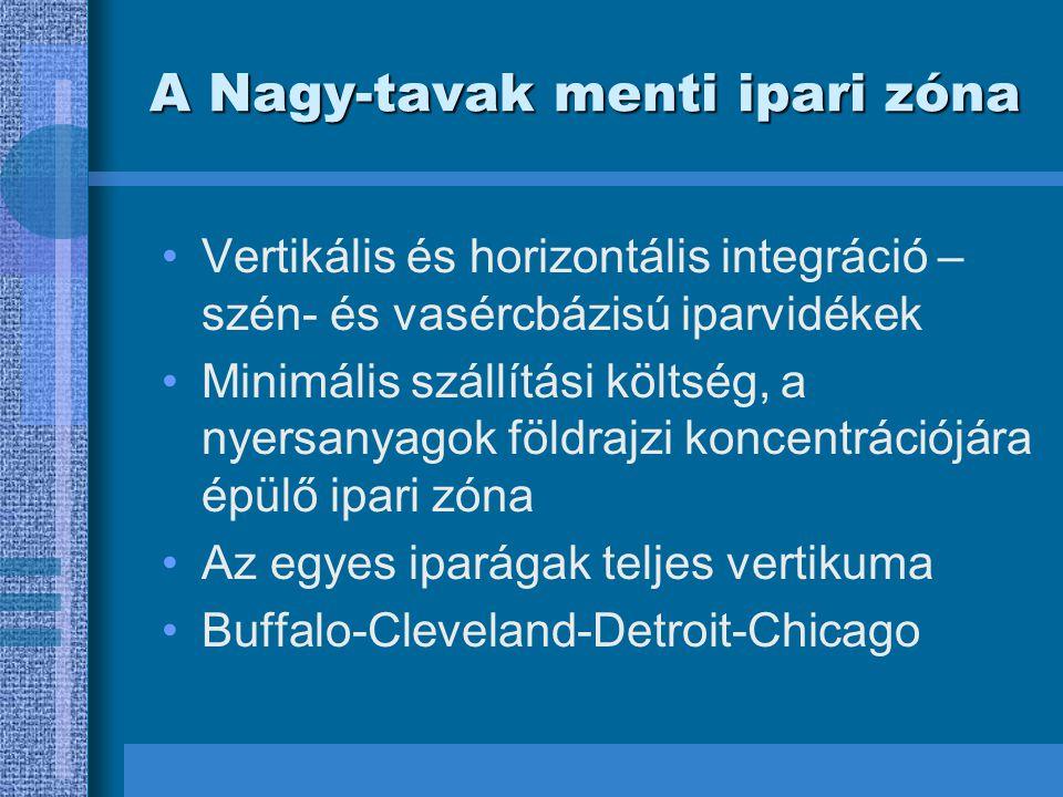A Nagy-tavak menti ipari zóna Vertikális és horizontális integráció – szén- és vasércbázisú iparvidékek Minimális szállítási költség, a nyersanyagok földrajzi koncentrációjára épülő ipari zóna Az egyes iparágak teljes vertikuma Buffalo-Cleveland-Detroit-Chicago