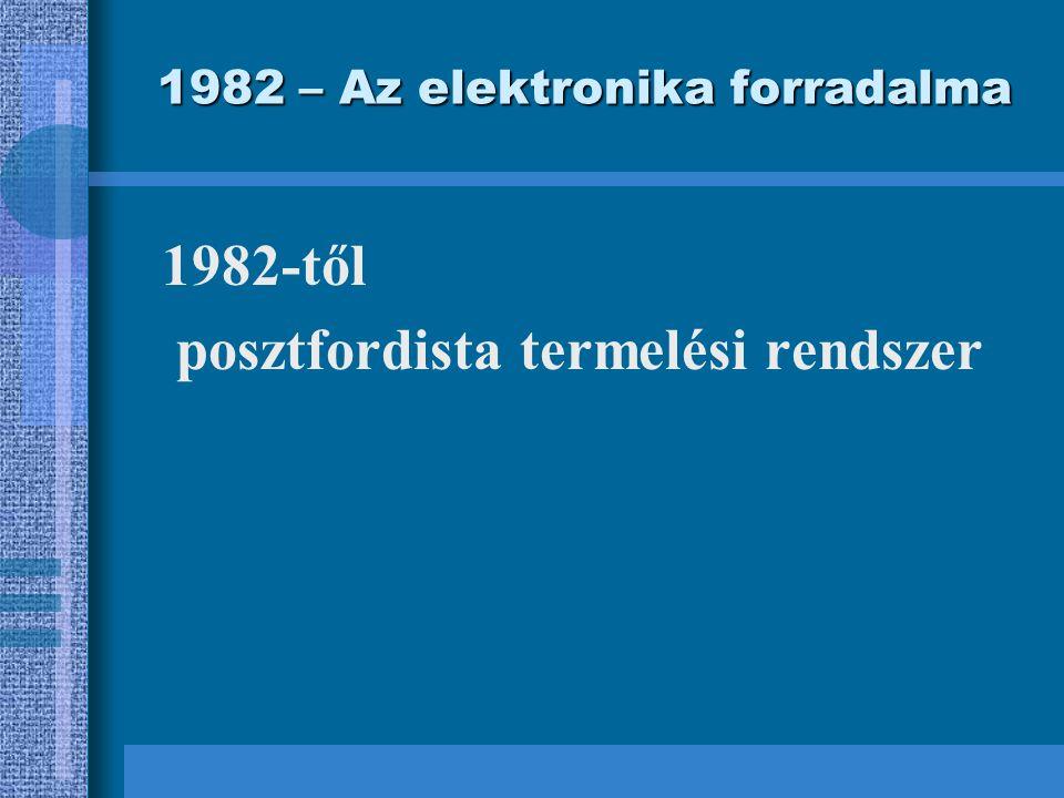 1982 – Az elektronika forradalma 1982-től posztfordista termelési rendszer