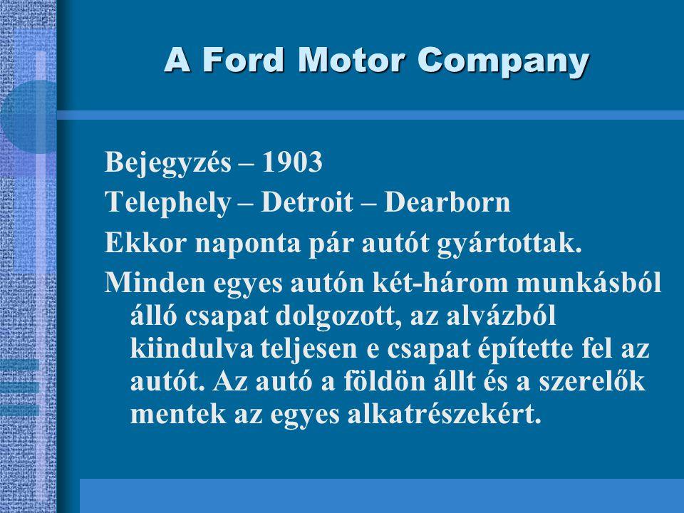 A Ford Motor Company Bejegyzés – 1903 Telephely – Detroit – Dearborn Ekkor naponta pár autót gyártottak.