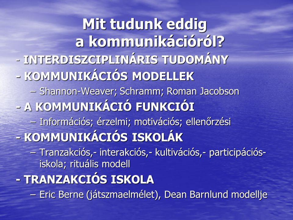 Mit tudunk eddig a kommunikációról? - INTERDISZCIPLINÁRIS TUDOMÁNY - KOMMUNIKÁCIÓS MODELLEK –Shannon-Weaver; Schramm; Roman Jacobson - A KOMMUNIKÁCIÓ