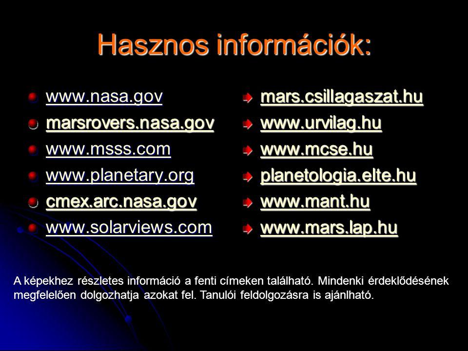 Hasznos információk: www.nasa.gov marsrovers.nasa.gov www.msss.com www.planetary.org cmex.arc.nasa.gov www.solarviews.com mars.csillagaszat.hu www.urvilag.hu www.mcse.hu planetologia.elte.hu www.mant.hu www.mars.lap.hu A képekhez részletes információ a fenti címeken található.