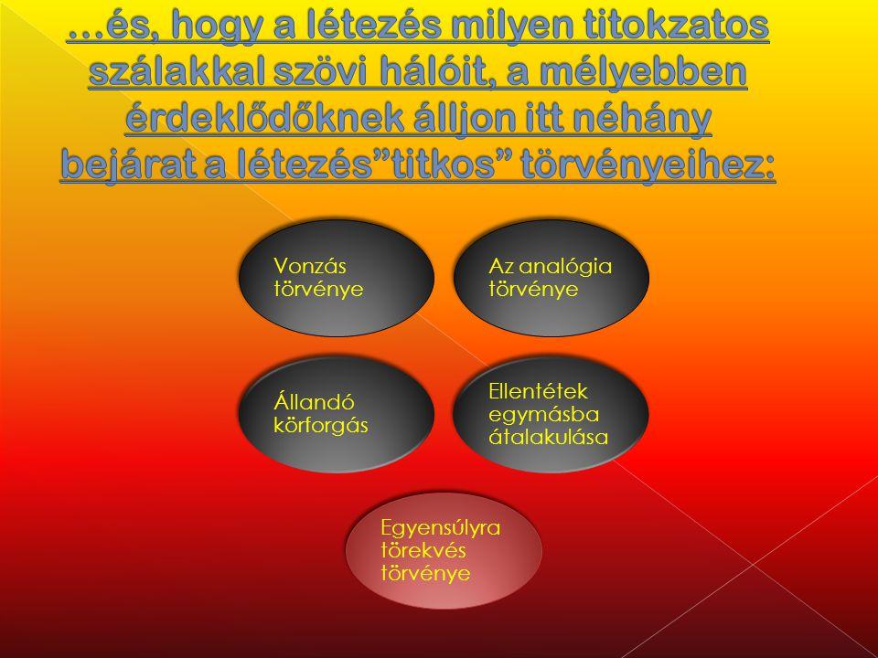 Vonzás törvénye Az analógia törvénye Állandó körforgás Ellentétek egymásba átalakulása Egyensúlyra törekvés törvénye